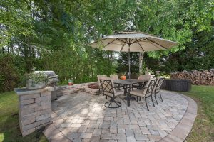 Paver Patio, Small Retaining Wall and Pillars