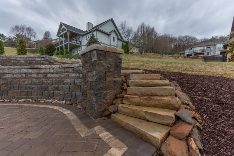 Outdoor Custom Rock Stairs, Retaining Wall, and Paver Patio
