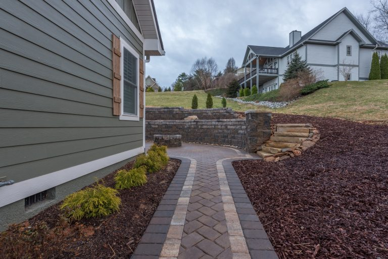 Custom paver walkway to staircase and firepit