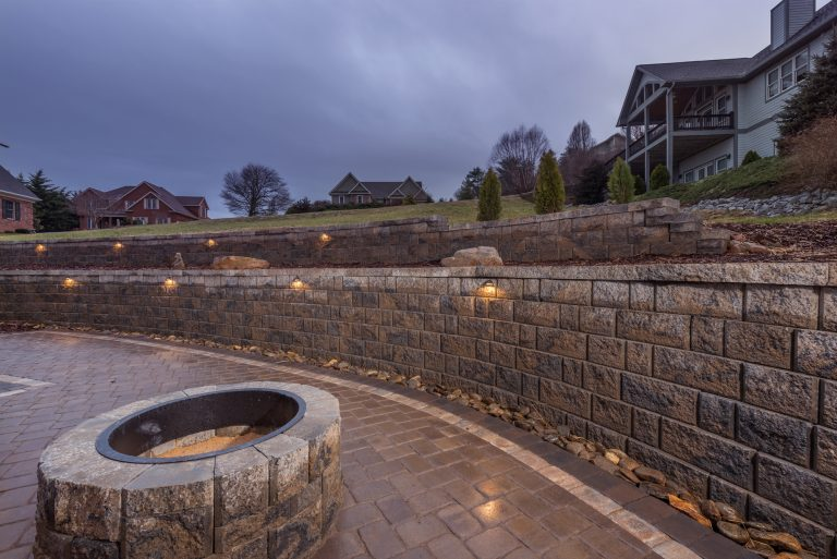 Retaining Wall, Architectural Lighting, Paver Patio, and Outdoor Fireplace