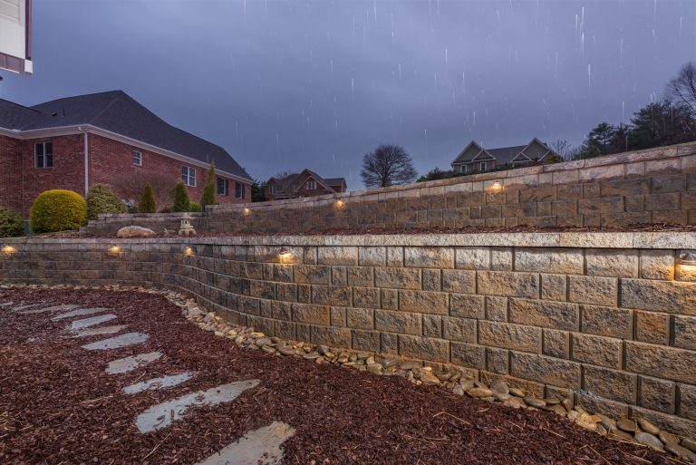Steppers and Retaining Wall with Exterior Lighting