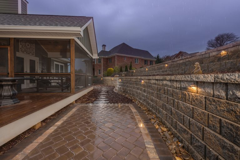 Paver Patio, Exterior Lighting, Retaining Wall