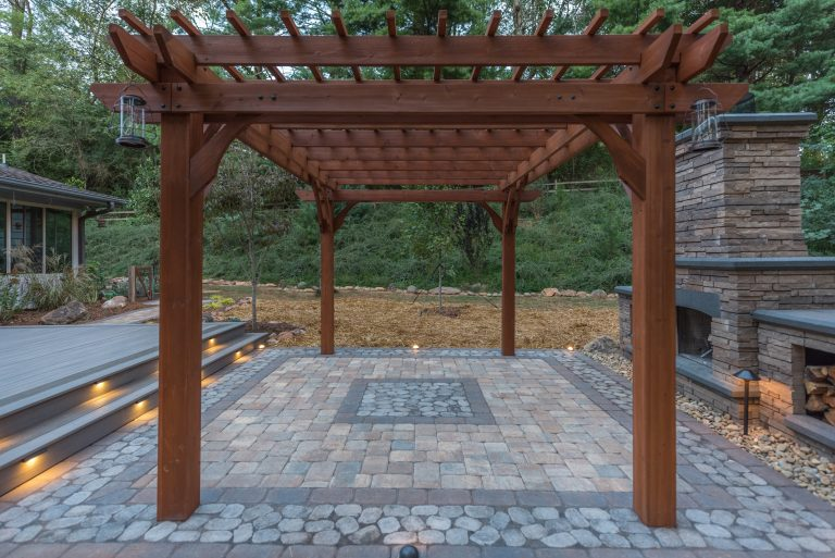 Pergola and Paver Patio with Outdoor Fireplace