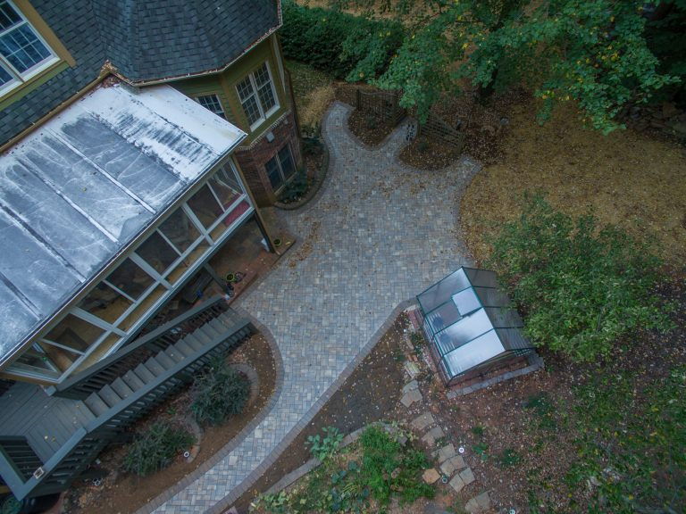 Arial Shot of completed paver patio
