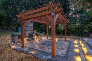 Path and Garden Lighting around the paver patio and pergola