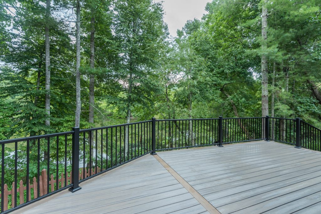 Composite decking with long-lasting metal railing in the greater Asheville, NC area.